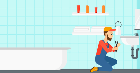 A woman sitting in a bathroom and repairing a sink with a spanner vector flat design illustration. Horizontal layout.