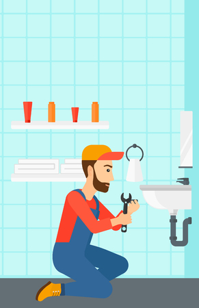 fitter: A hipster man with the beard sitting in a bathroom and repairing a sink with a spanner vector flat design illustration. Vertical layout.