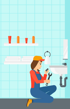 wash basin: A woman sitting in a bathroom and repairing a sink with a spanner vector flat design illustration. Vertical layout. Illustration