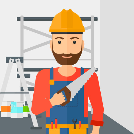 cartoon hand: A hipster worker with the beard holding a saw in hand on a background of walls and step ladder vector flat design illustration. Square layout.