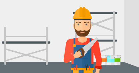 step ladder: A hipster worker with the beard holding a saw in hand on a background of walls and step ladder vector flat design illustration. Horizontal layout. Illustration