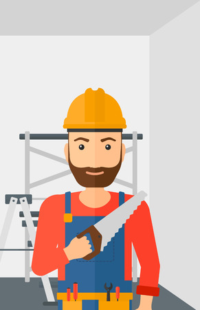 step ladder: A hipster worker with the beard holding a saw in hand on a background of walls and step ladder vector flat design illustration. Vertical layout. Illustration