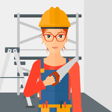 step ladder: A female worker holding a saw in hand on a background of walls and step ladder vector flat design illustration. Square layout.
