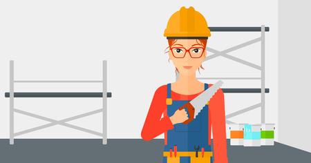 step ladder: A female worker holding a saw in hand on a background of walls and step ladder vector flat design illustration. Horizontal layout. Illustration
