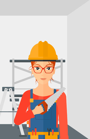 step ladder: A female worker holding a saw in hand on a background of walls and step ladder vector flat design illustration. Vertical layout.