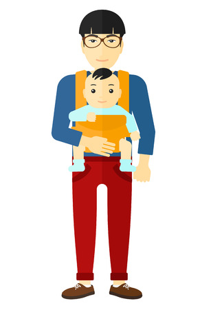 man carrying: An asian man carrying a baby in sling vector flat design illustration isolated on white background.