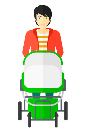 An asian man pushing a baby stroller vector flat design illustration isolated on white background.