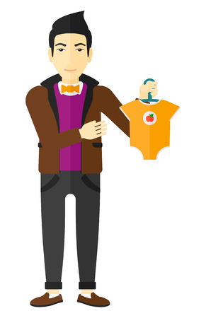 An asian man holding clothes for baby vector flat design illustration isolated on white background. Illustration