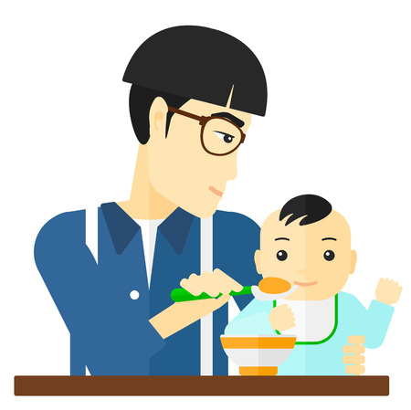 family eating: An asian dad holding a spoon and feeding baby vector flat design illustration isolated on white background. Illustration