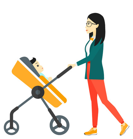 pushing: An asian mother pushing a baby stroller vector flat design illustration isolated on white background.
