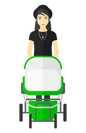 asian family: An asian mother pushing a baby stroller vector flat design illustration isolated on white background.