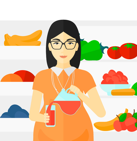 An asian pregnant woman standing near refrigerator and pouring juice in a glass vector flat design illustration isolated on white background. Ilustrace