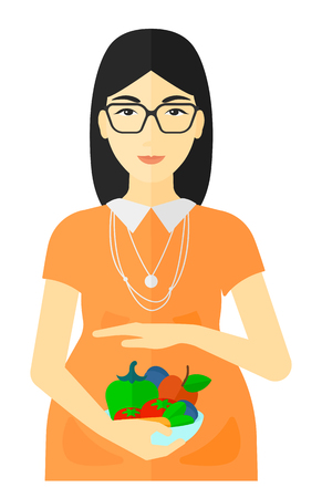 pregnant mom: An asian pregnant woman holding a bowl with vegetables vector flat design illustration isolated on white background.
