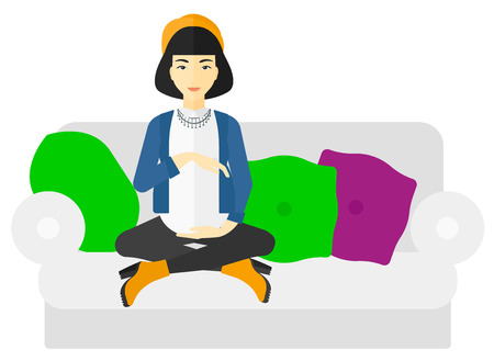 An asian pregnant woman sitting on a sofa vector flat design illustration isolated on white background.