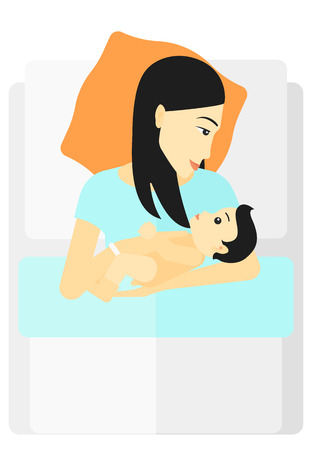 maternity ward: An asian woman lying in bed with a newborn baby in a maternity ward vector flat design illustration isolated on white background.