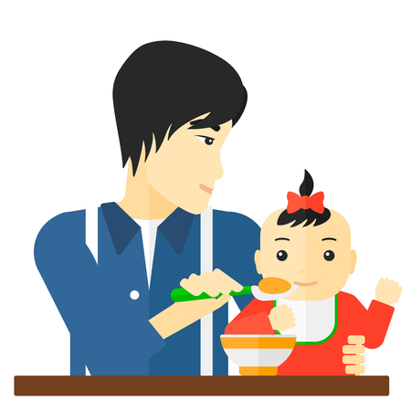 An asian dad holding a spoon and feeding baby vector flat design illustration isolated on white background. Illustration