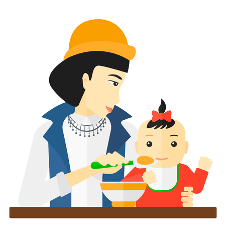 An asian mother holding a spoon and feeding baby vector flat design illustration isolated on white background. Illustration