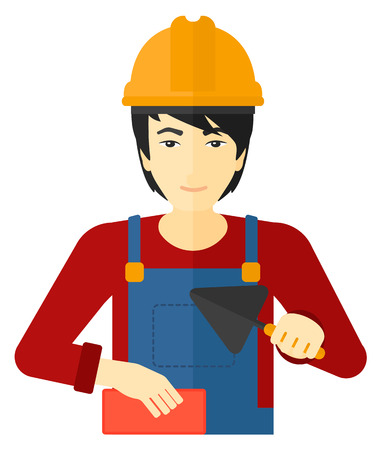 bricklayer: An asian bricklayer with a spatula and a brick in hands vector flat design illustration isolated on white background.