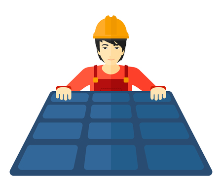 sunshine background: An asian constructor with solar pannel in hands vector flat design illustration isolated on white background.