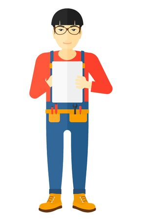 An asian builder making some notes in his tablet vector flat design illustration isolated on white background. Illustration