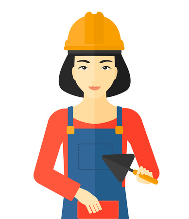 mason: An asian female bricklayer with a spatula and a brick in hands vector flat design illustration isolated on white background.