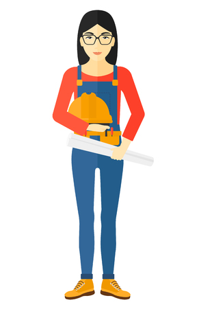 An asian female engineer holding a hard hat and a twisted blueprint in hands vector flat design illustration isolated on white background. Illustration