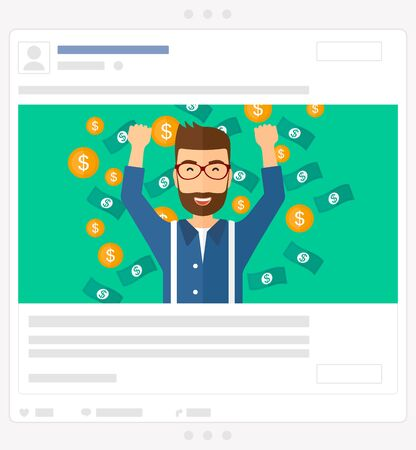 A successful entrepreneur with raised hands up standing under  flying money vector flat design illustration isolated on green background. Social media post.