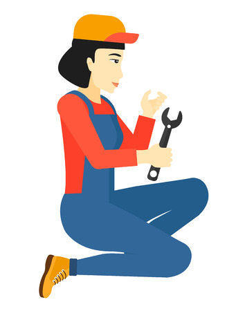 repairer: An asian repairer sitting with a spanner in hand vector flat design illustration isolated on white background.