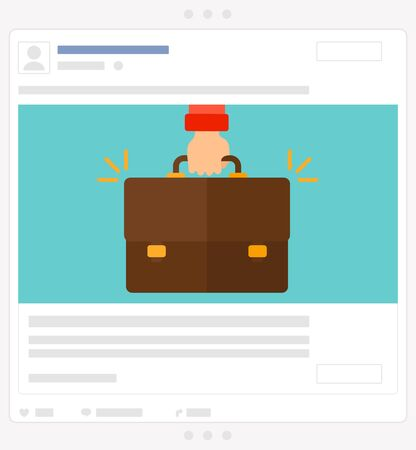 Businessman hand holding briefcase vector flat design illustration isolated on blue background. Social media post.