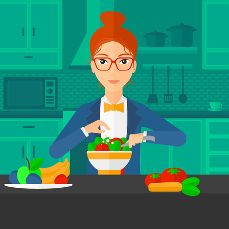 A woman standing in the kitchen and cooking vegetable salad vector flat design illustration. Square layout.