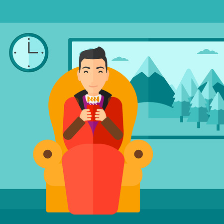 living room design: A man wrapped into a plaid sitting in chair in living room and holding a cup of hot flavored tea vector flat design illustration. Square layout.
