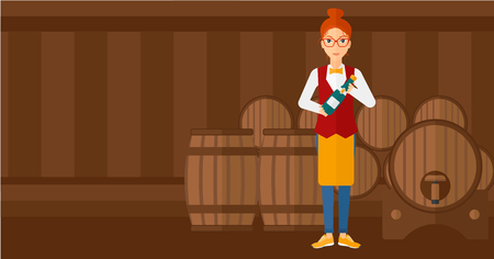 A waitress standing in wine cellar and holding a bottle in hands vector flat design illustration. Horizontal layout. Illustration