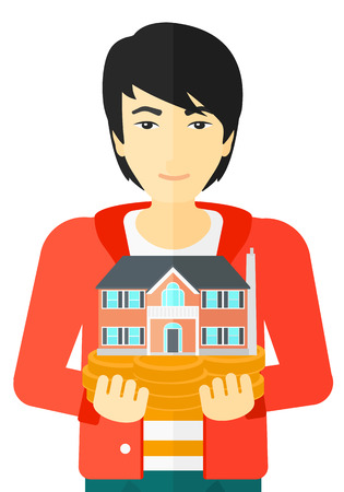 An asian man holding model of house in hands vector flat design illustration isolated on white background. Illustration