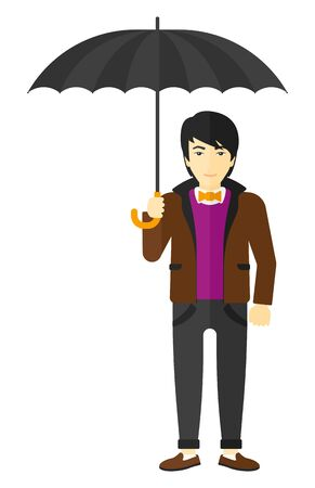 sheltering: An asian businessman standing and holding an umbrella vector flat design illustration isolated on white background. Illustration