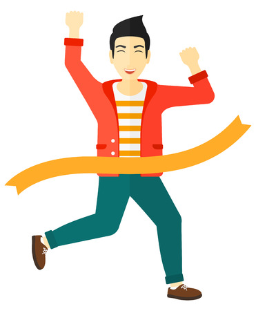 finishing line: An asian businessmen running through finishing line vector flat design illustration isolated on white background. Illustration