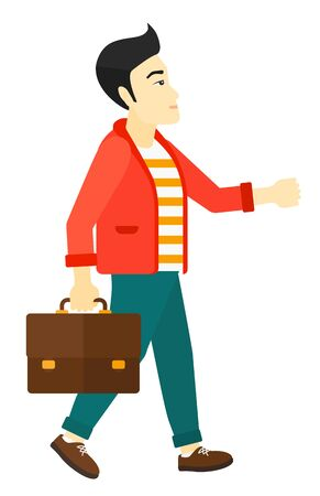 going: An asian businessman walking with a briefcase vector flat design illustration isolated on white background.