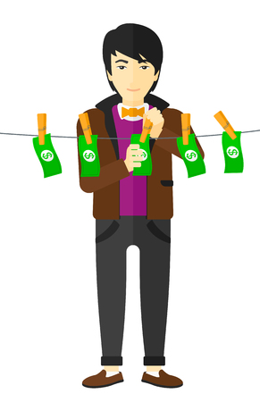 An asian businessman drying banknotes on clothesline vector flat design illustration isolated on white background. Illustration