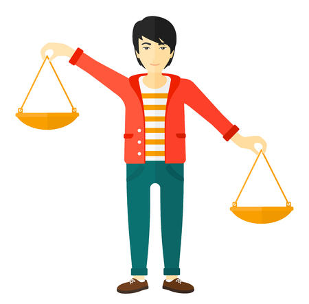 Een Aziatische zakenman bedrijf schalen in handen vector plat ontwerp illustratie geïsoleerd op een witte achtergrond. Stock Illustratie