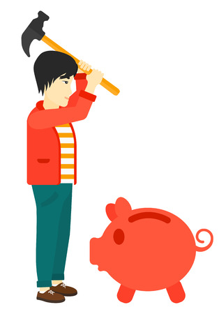 asian businessman: An asian businessman with a hammer breaking a piggy bank vector flat design illustration isolated on white background. Illustration