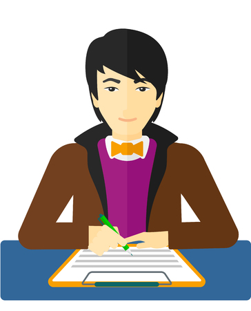 An asian man sitting at the table and signing a contract vector flat design illustration isolated on white background.  イラスト・ベクター素材