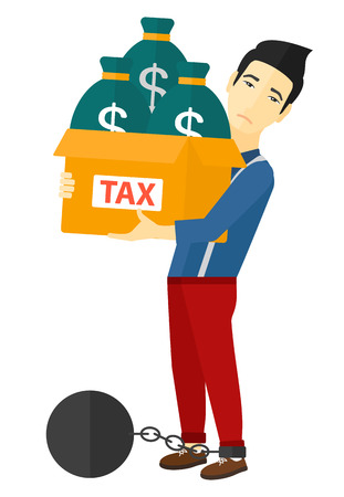 carrying heavy: Chained to a large ball businessman carrying heavy box with bags full of taxes vector flat design illustration isolated on white background.