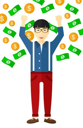 An asian successful entrepreneur with raised hands up standing under  flying money vector flat design illustration isolated on white background.