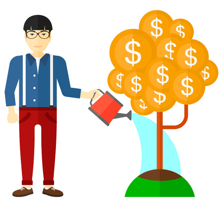 care: An asian man taking care of finances watering a money tree vector flat design illustration isolated on white background. Illustration