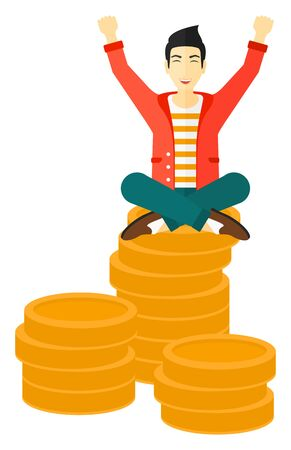 asian businessman: An asian businessman with a happy face and raised hands sitting on golden coins vector flat design illustration isolated on white background. Illustration