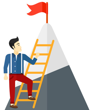 stair climber: An asian man standing and holding the ladder to get the red flag on the top of mountain vector flat design illustration isolated on white background.