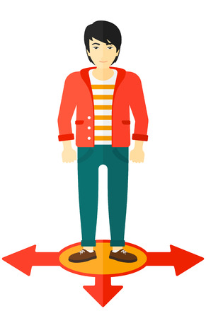 ways: An asian businessman standing on three alternative ways vector flat design illustration isolated on white background.