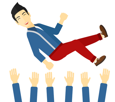 hands lifted up: An asian businessman get thrown into the air by coworkers during celebration vector flat design illustration isolated on white background. Illustration