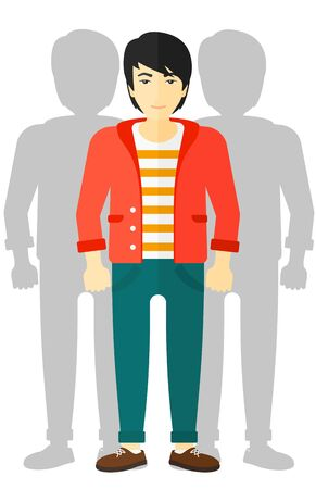 coworkers: An asian man with some shadows of his coworkers behind him vector flat design illustration isolated on white background. Illustration