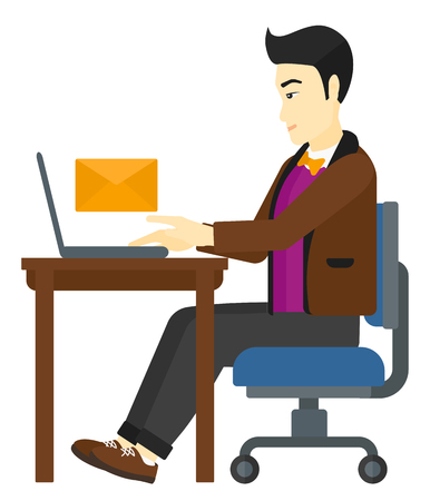 asian man laptop: An asian man sitting at the table in front of a laptop with a big envelope above vector flat design illustration isolated on white background.