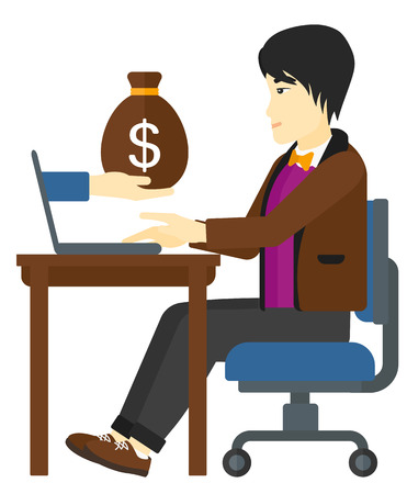 asian businessman: An asian businessman working in office and a bag of money coming out of his laptop vector flat design illustration isolated on white background. Illustration